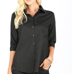3/4 Sleeve Button Down Shirt